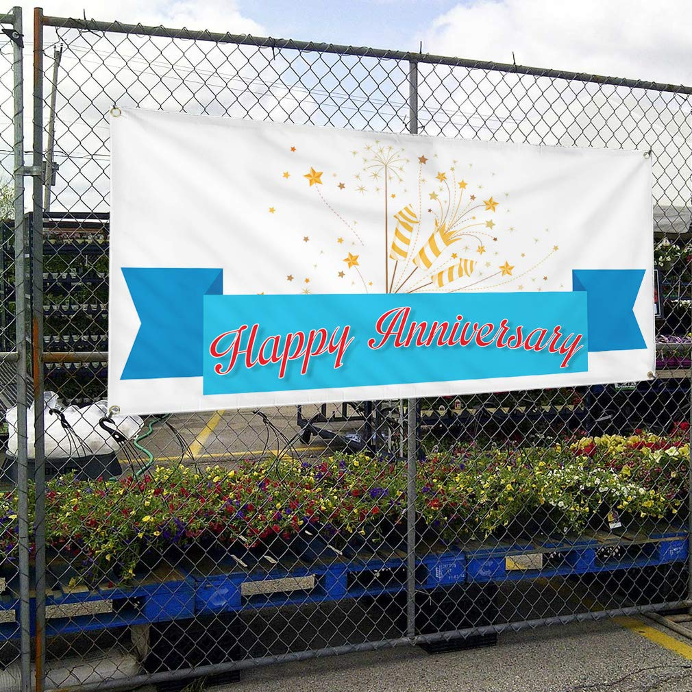 Vinyl Banner Sign Happy Anniversary Business Style U Outdoor Marketing Advertising White Set of 2 Multiple Sizes Available 6 Grommets 32inx80in