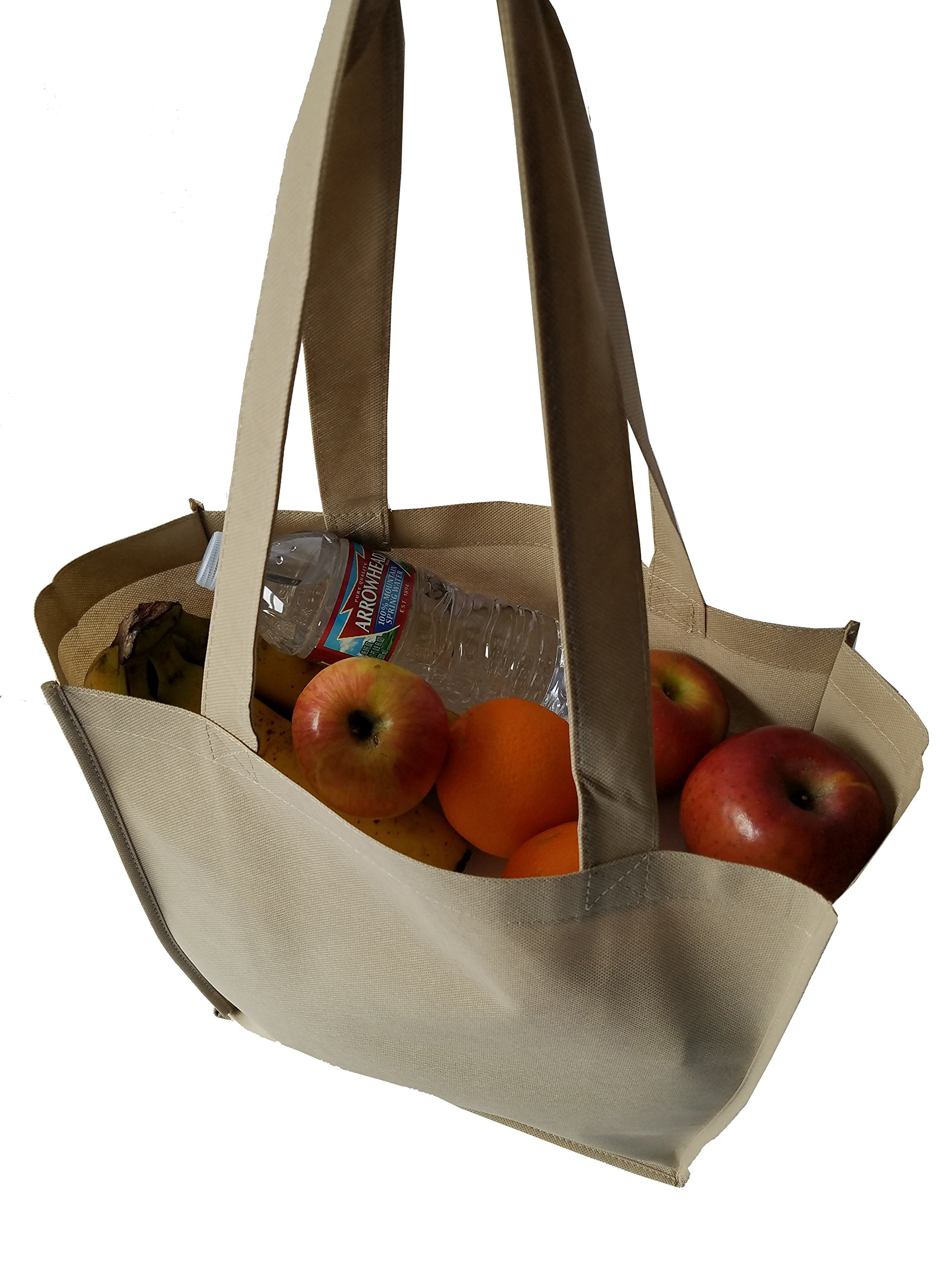 ImpecGear 15'' Tote W/ 6 Gusset Grocery Bag Recycled Reusable Shopping Tote Shoulder Bag Luggage (3, Natural) by ImpecGear (Image #4)