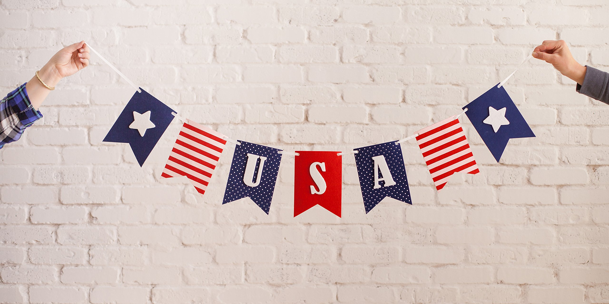 USA Banner Bunting Laser Cut Felt 40 inches wide - Patriotic Americana Red, White, & Blue America! by Decomod (Image #2)