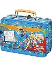 BIC Kids Mallette de Coloriage - 12 Pastels à l'Huile/12 Feutres Magiques/6 Tubes de Colle Pailletée/1 Poster à Colorier