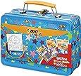 BIC 942099 Kids Colouring Activity Set Lunch Box Case- 12 Oil Pastels/12 Magic Felt Pens/6 Glitter Glue Tubes/1 Colouring Poster