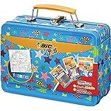 BIC Kids Colouring Case 12 Pastelli a Olio per Colorare, 12 Pennarelli Magici, 6 Tubetti di Colla Glitter e 1 Poster da Colorare
