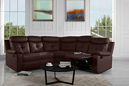 Incroyable Large Classic And Traditional Bonded Leather Reclining Corner Sectional Sofa  For Big Families (Brown)