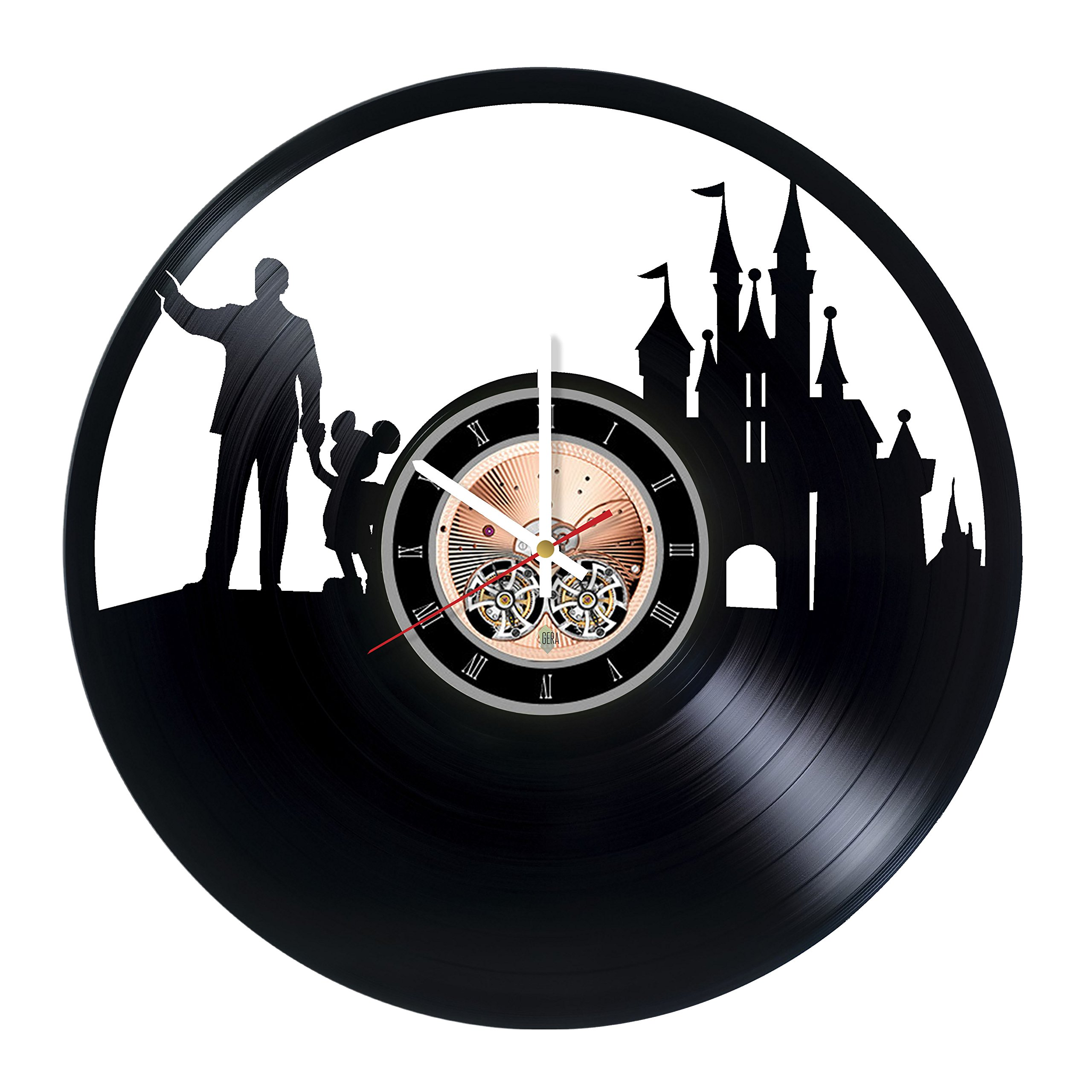 The Walt Disney Vinyl Record Wall Clock - Kids Room wall decor - Gift ideas for children, baby, brother and sister - Funny Cartoon Unique Art Design