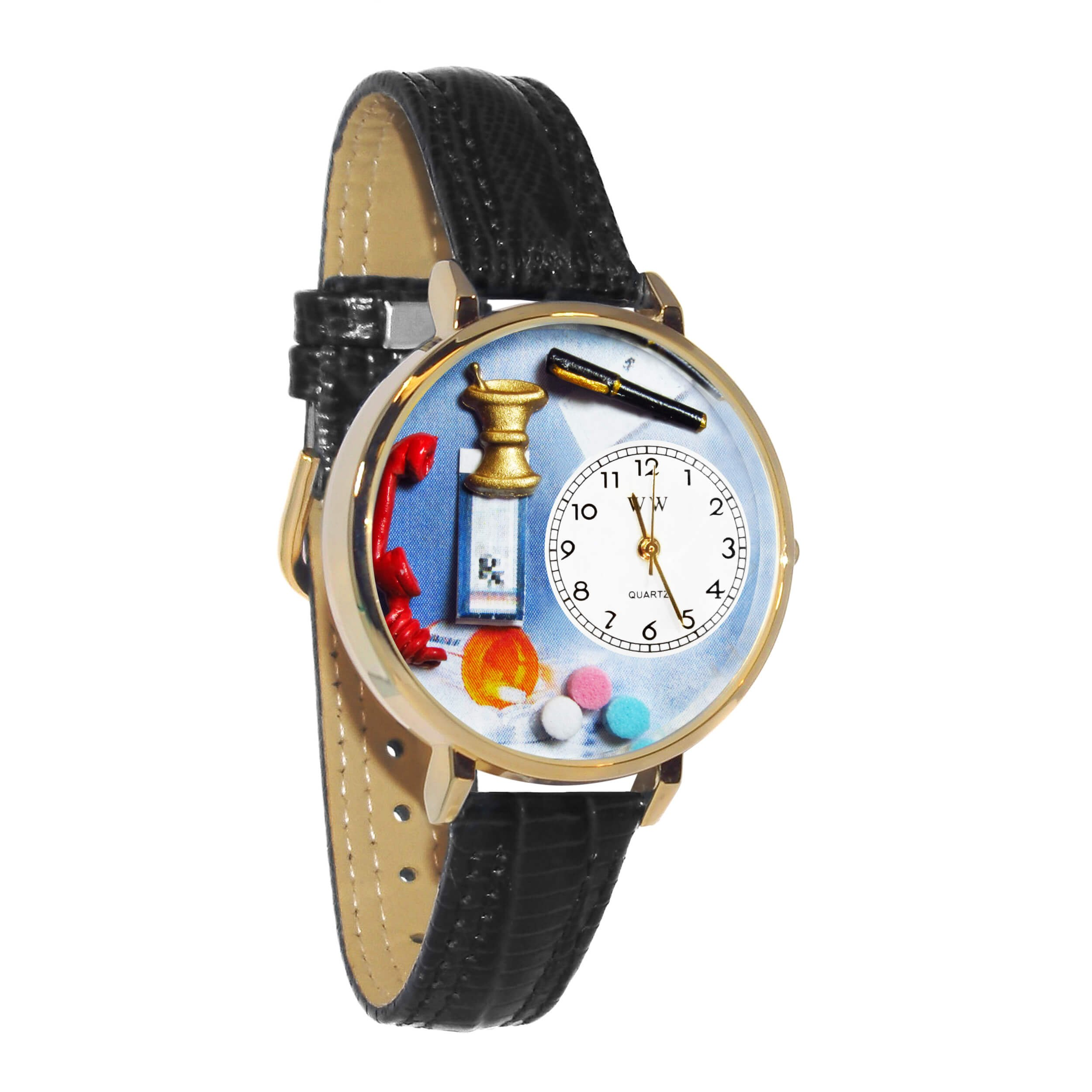 Whimsical Watches Unisex G0620014 Pharmacist Black Padded Leather Watch