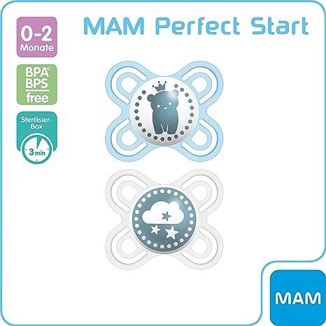 MAM Perfect Start 70584711 - Chupete de silicona (0 a 2 meses, previene los defectos dentales, ultrafino y flexible), color azul