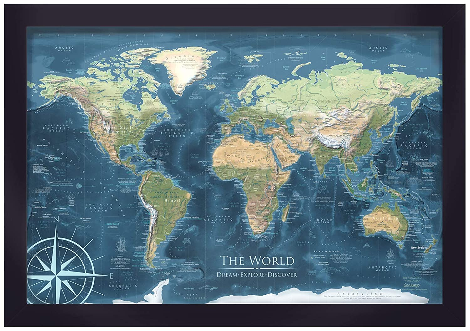 Executive Wall Map - World Push Pin Map - Voyager 1 World Map - 30x20 inch  map + frame + includes 100 map pins - Designed by a Professional Geographer