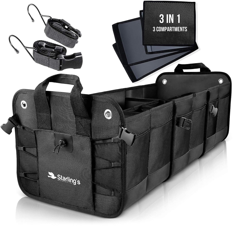 Starling's Car Trunk Organizer - Durable Storage SUV Cargo Organizer Adjustable (Black, 3 Compartments)