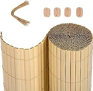 SONGMICS Valla de PVC, 5 x 0,8 m (Largo x Ancho), Bambú, Persiana ...