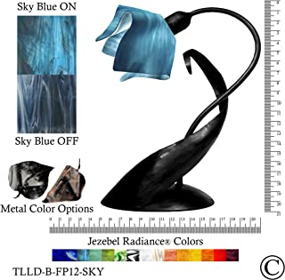 product image for Jezebel Radiance Lazy Daisy Lamp. Hardware: Black. Glass: Sky Blue, Flame Style