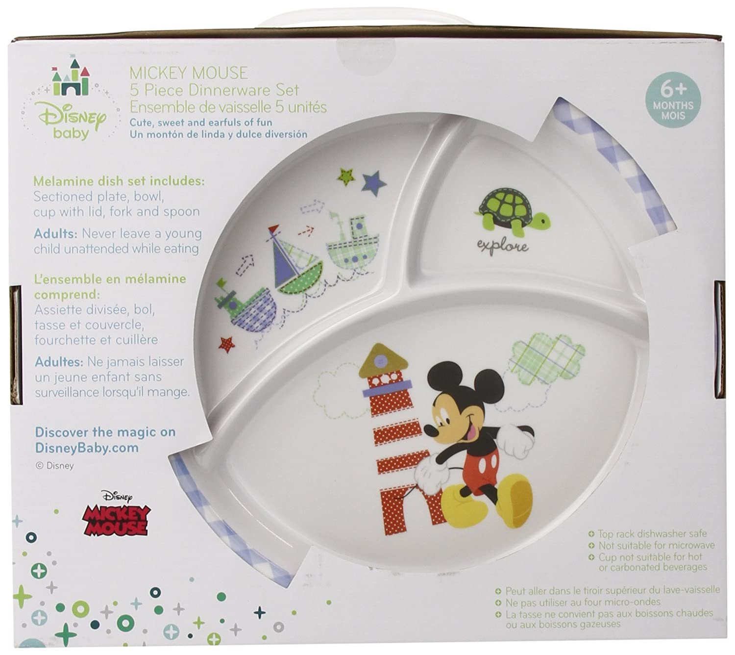 Amazon.com Disney Baby Mickey Mouse 5 Piece Melmine Dinnerware Set Baby  sc 1 st  Amazon.com & Amazon.com: Disney Baby Mickey Mouse 5 Piece Melmine Dinnerware Set ...
