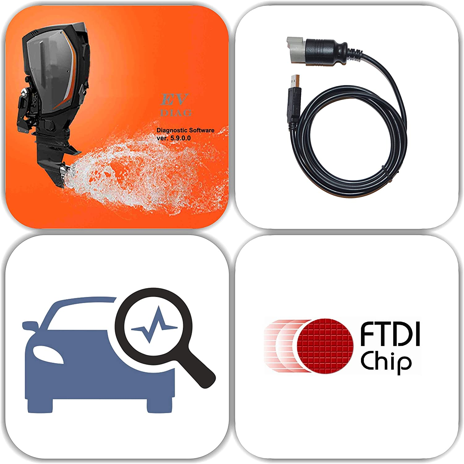 Amazon Com Moto Solution Usb Diagnostic Tool Scanner Kit For Evinrude Outboard Engine E Tec Fitch Sports Outdoors