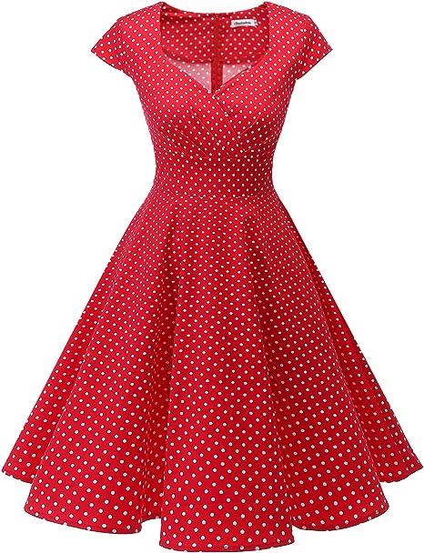 TALLA XL. Bbonlinedress Vestido Corto Mujer Retro Años 50 Vintage Escote Red Small White Dot XL