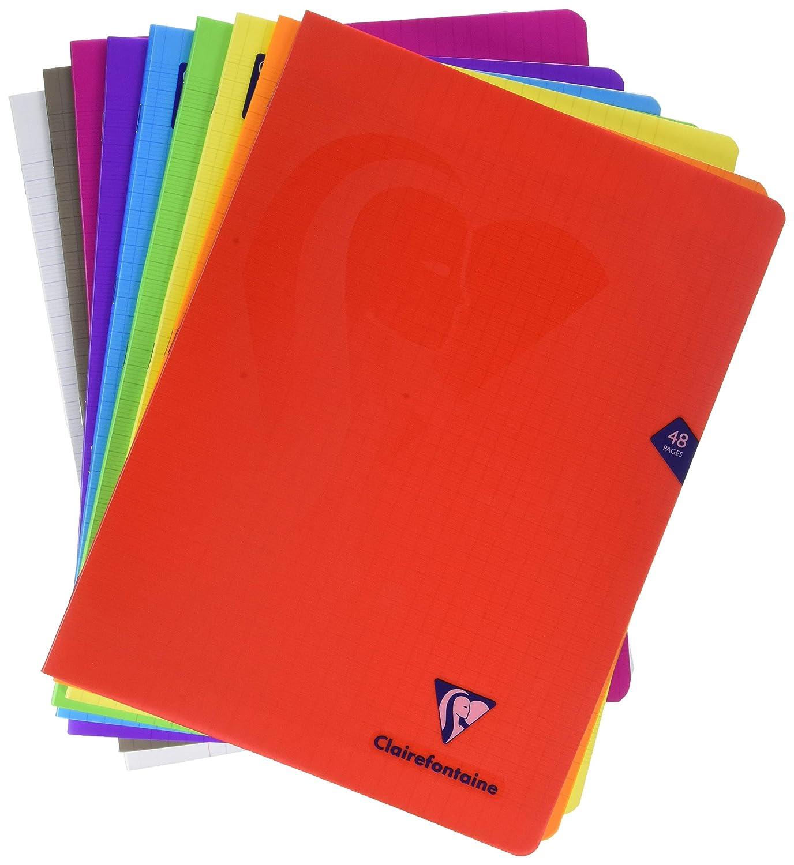 ClaireFontaine Cahier Piqu/é Couverture Polypro 48 Pages 24x32 cm Grands Carreaux Lot de 3 bleu rouge vert R/éf 293311AMZ
