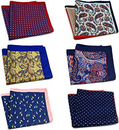 GOADAFOO Mens Pocket Square 12.5In Large Silky Floral Pocket Squares For Men  Handkerchiefs Set Assorted (6 Packs)… at Amazon Men's Clothing store