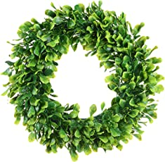 Lvydec Artificial Green Leaves Wreath - 15  Boxwood Wreath Outdoor Green Wreath for Front Door  sc 1 st  Amazon.com & Shop Amazon.com | Wreaths