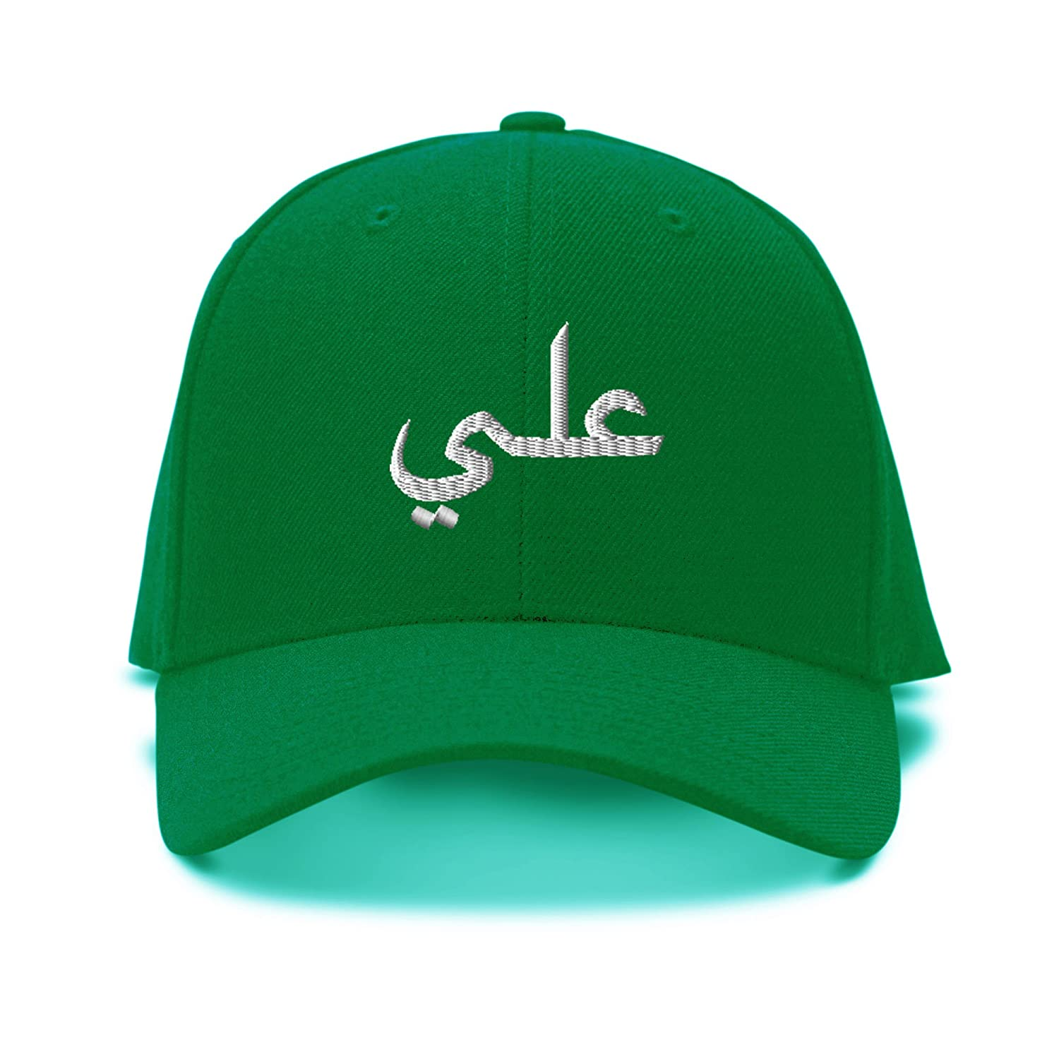 Ali Arabic Name White Embroidery Embroidered Adjustable Hat Baseball Cap CAPARAB0024W_B
