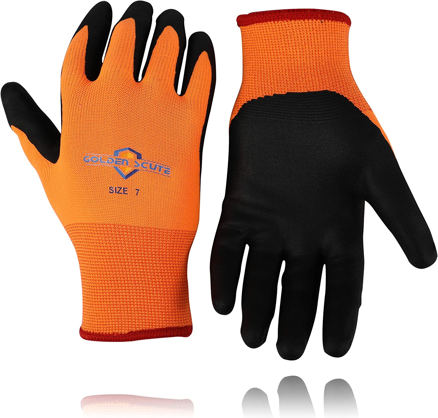 Golden Scute Freezer Winter Work Gloves,Smart Touch,Fleece Lined with Tight Grip Palms -Cold Temperatures, 6 pairs (Size 9, Large)