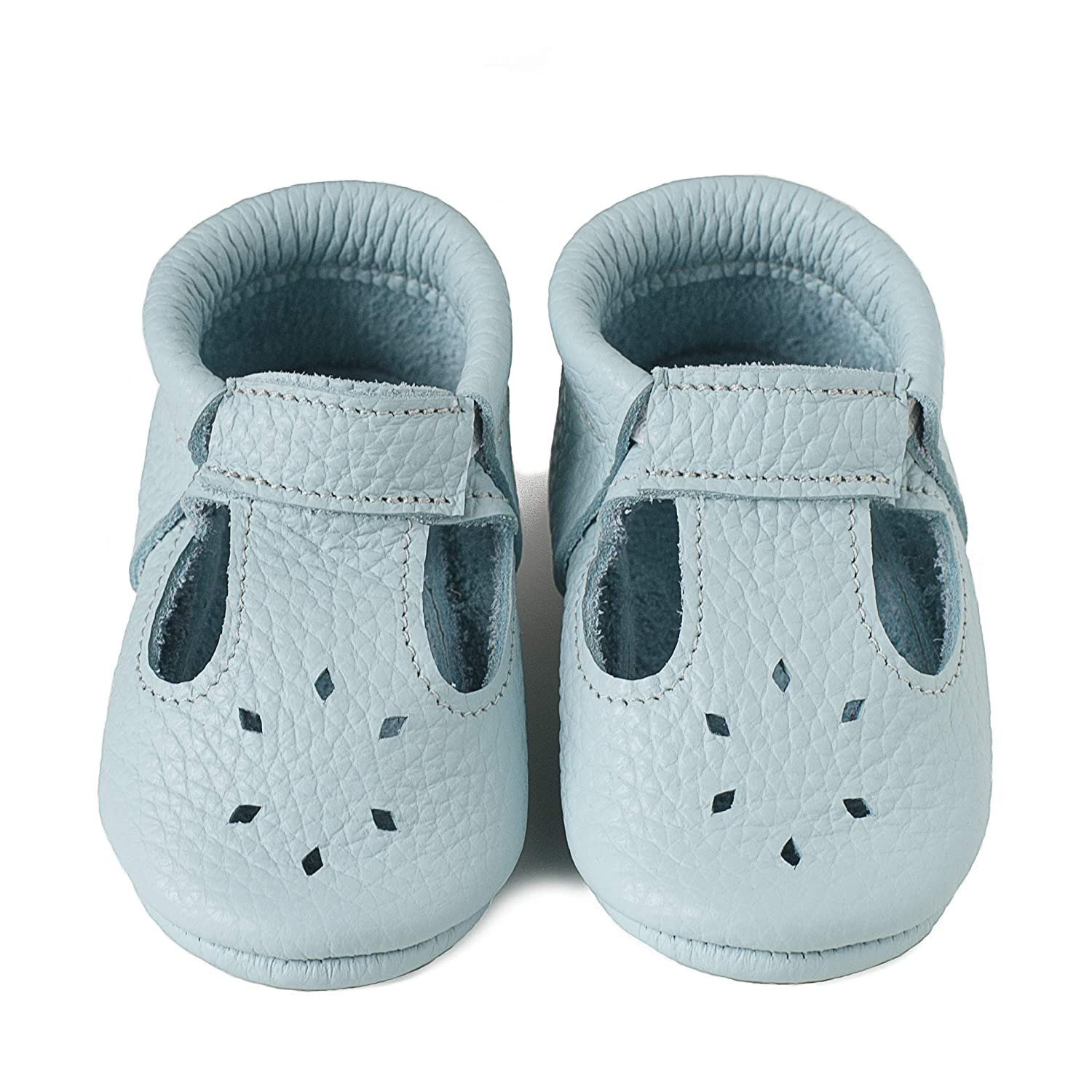 Infants Italian Leather LittleBeMocs T-Strap Baby Moccasins Soft Sole Shoes for Boys and Girls Toddlers Babies