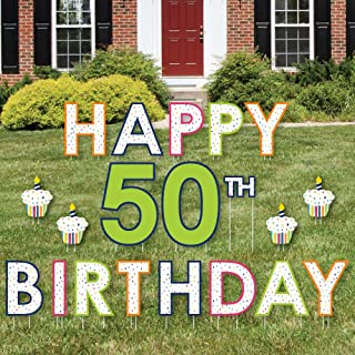 product image for Big Dot of Happiness 50th Birthday - Cheerful Happy Birthday - Yard Sign Outdoor Lawn Decorations - Colorful Fiftieth Birthday Party Yard Signs - Happy 50th Birthday