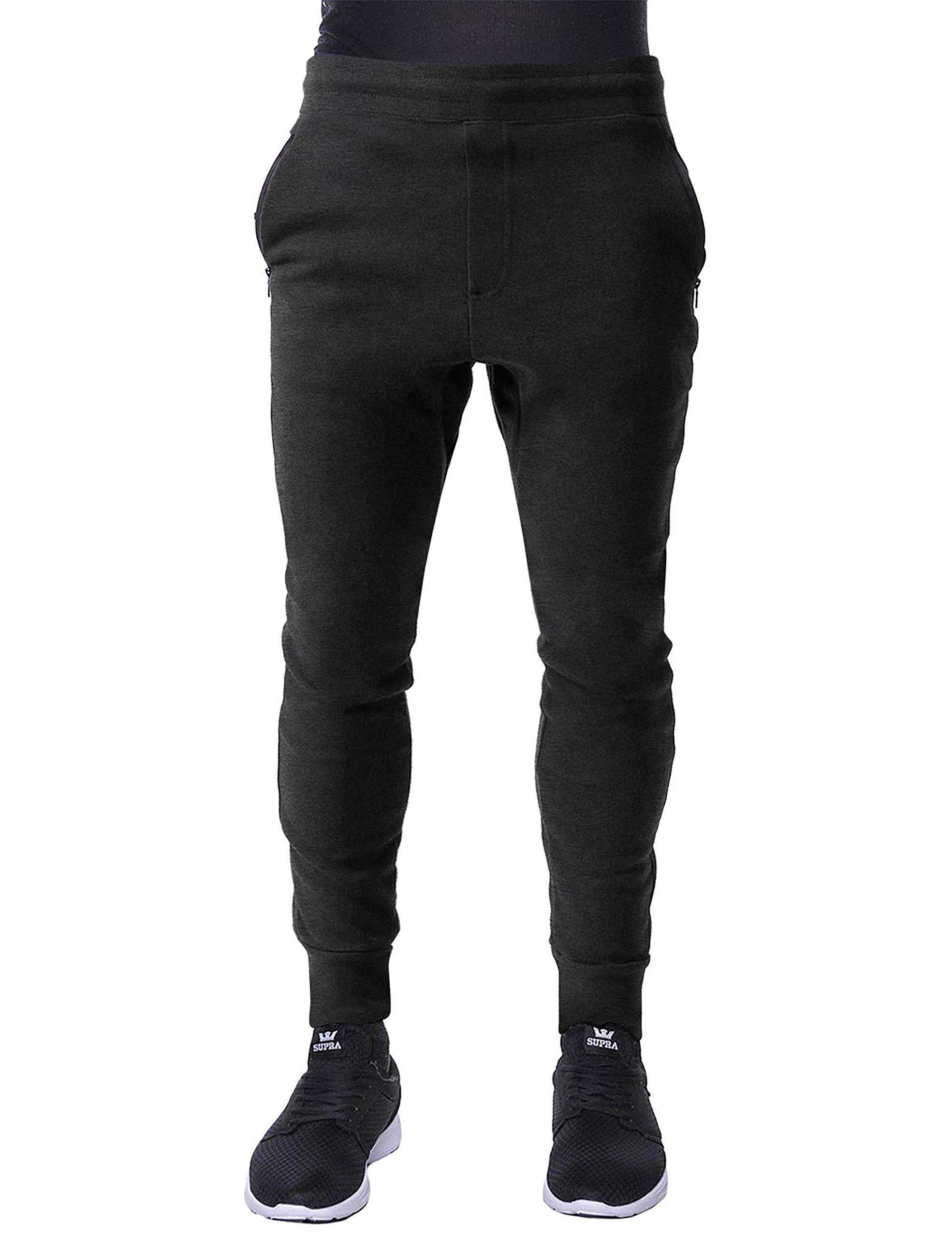 Hat and Beyond Mens Fleece Jogger Pants Elastic Active Basic Urban Harem Slim Fit (Medium, IPJ089 Charcoal)