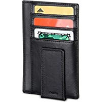 ProCase Genuine Leather Money Clip Front Pocket Wallet, Ultra Slim Magnetic Money Clip Minimalist Wallet Plus Secure RFID Blocking Technology -Black