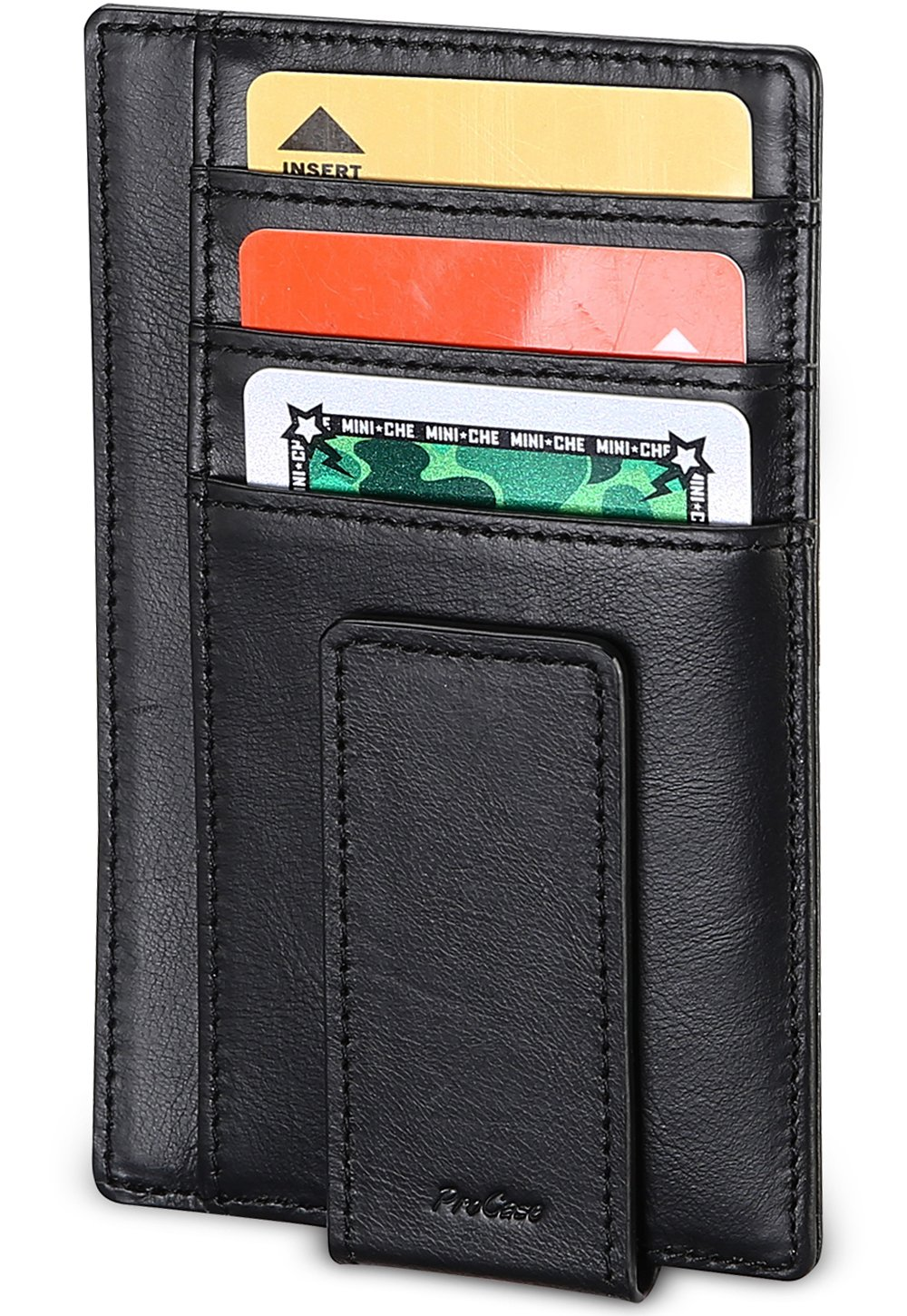 114796b50d57 ProCase Genuine Leather Money Clip Front Pocket Wallet, Ultra Slim Magnetic  Money Clip Minimalist Wallet Plus Secure RFID Blocking Technology -Black