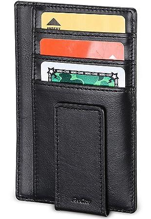 ProCase Cartera Piel Genuina, Billetera Ultra Delgada con Clip de Dinero Magnético, Monedero Minimalista