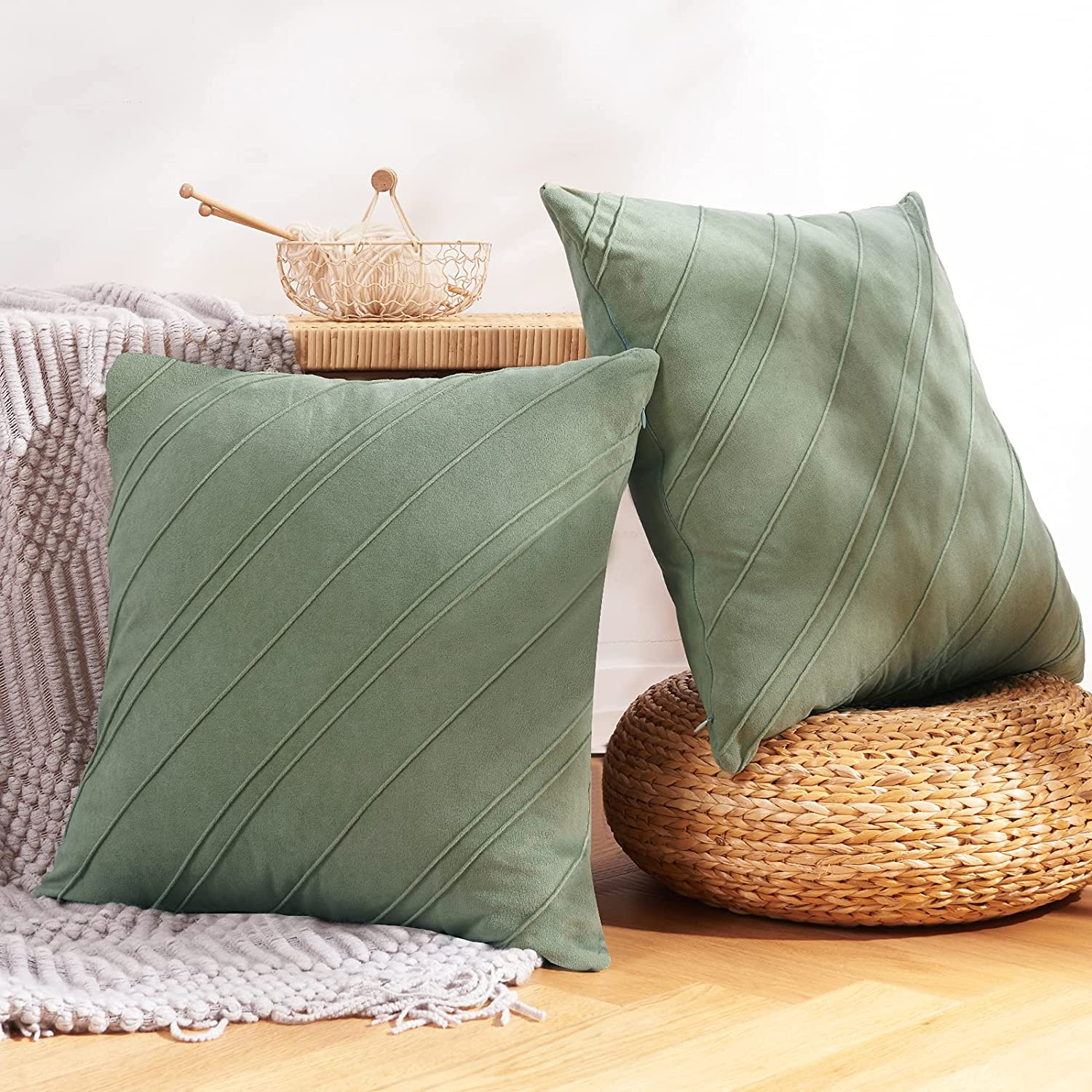 NEERYO Set of 2 Striped Fringe Decorative Throw Pillow Covers Square Soft Boho Farmhouse Cushion Cover for Bedroom Sofa Living Room Couch Decor 18 x 18 Inches Patina Green