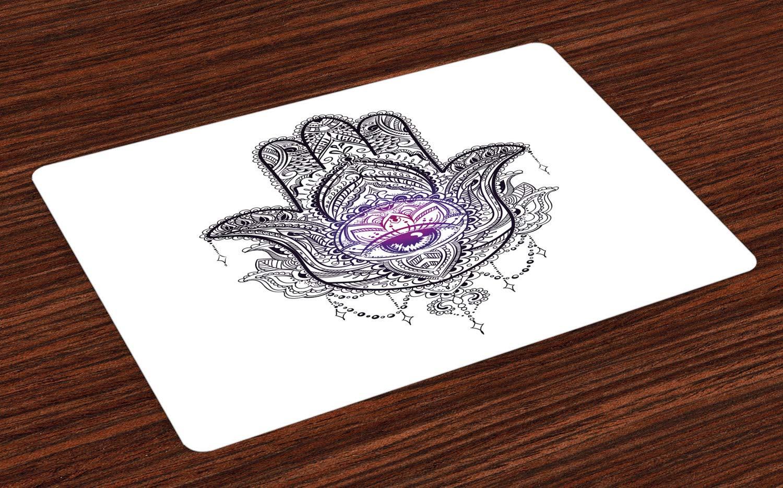 ABAKUHAUS Böses Auge Platzmatten, Spirituelles Symbol-Artwork Curvy Blumendetails Ostarabische Verzierungen, Tiscjdeco aus Farbfesten Stoff für das Esszimmer und Küch, Lila Weiß Schwarz