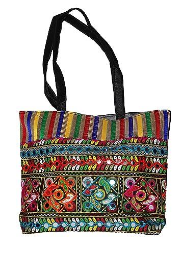 WSW Solutions Women's Jodhpuri Jaipuri Rajasthani Style Handmade Handbag (WSW0058, Multicolour)