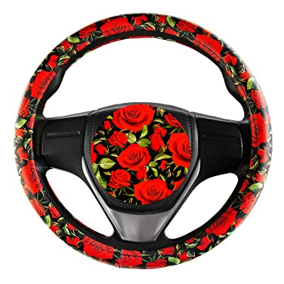Evankin Steering Wheel Cover Cute and Handmade,PU Universal Steering Wheel Cover 15 inch, Fashionable Rose Flower Car Accessories for Women,Top Girl Car Accessories(Rose): Automotive