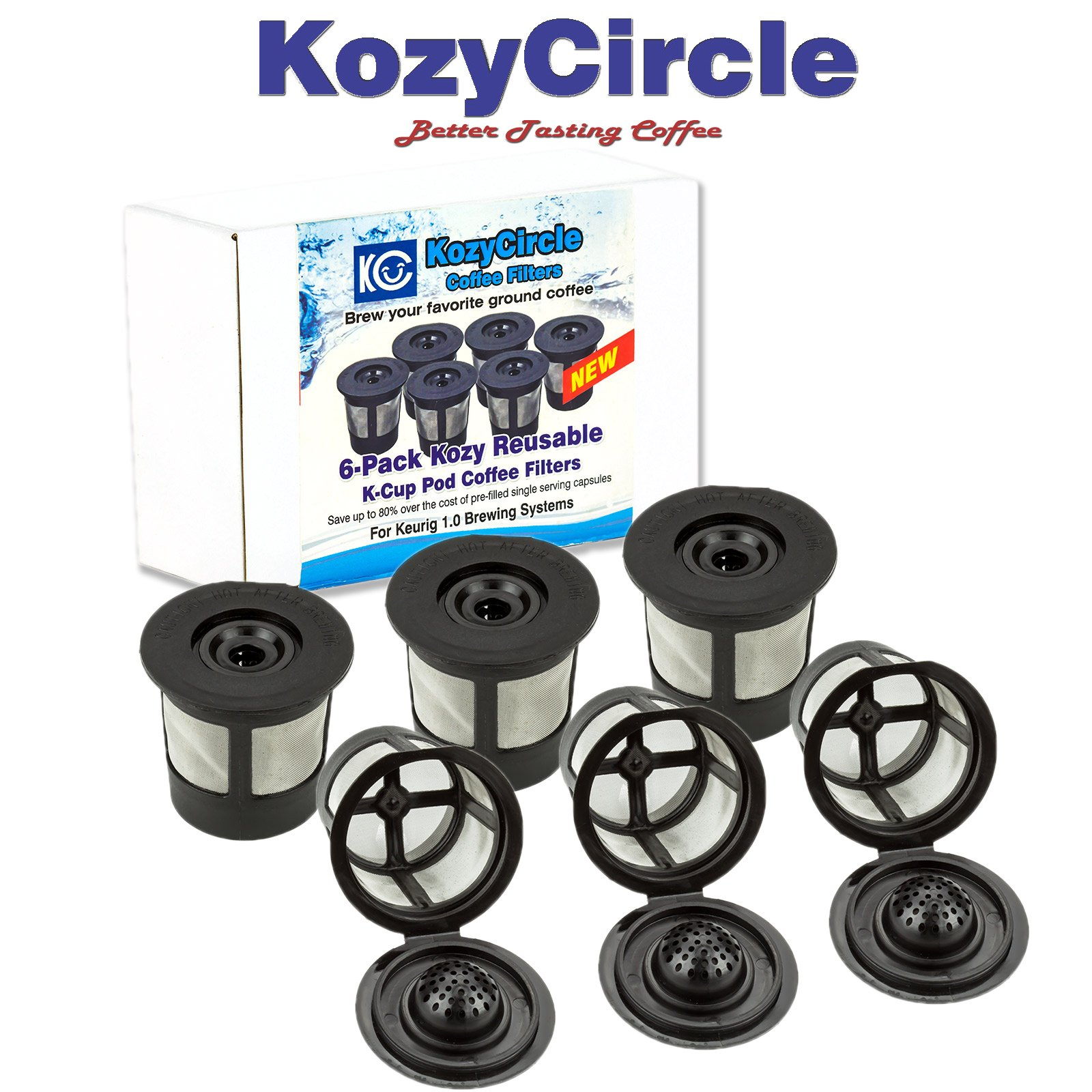 6-Pack Reusable Refillable Single K-cup Compatible with Keurig 1.0 Brewers – KozyCircle Coffee Replacement Mesh Filter Pods with Lids – Perfect Gift for Coffee Lovers