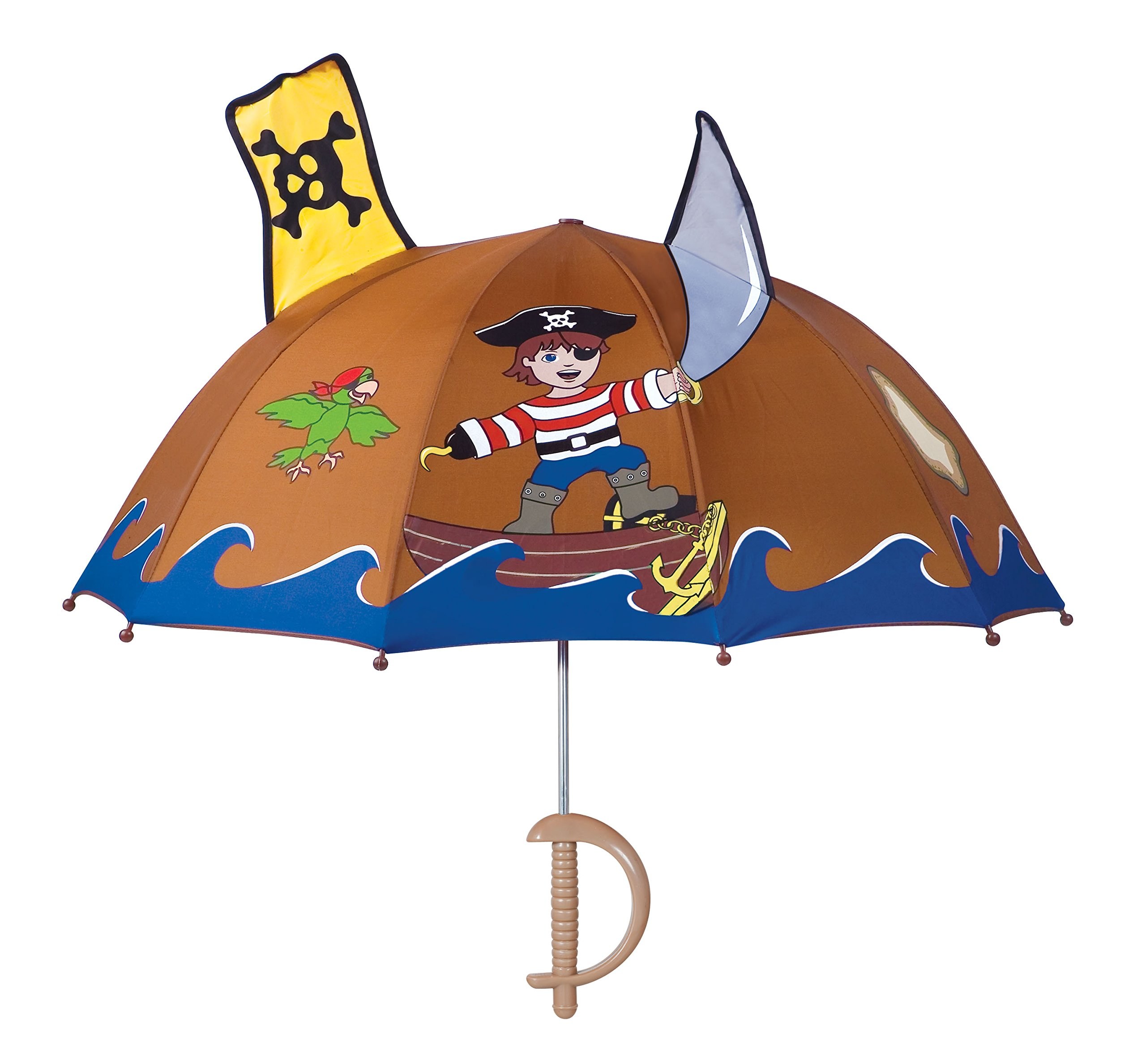 Kidorable Pirate Umbrella, Brown, One Size for Toddlers and Big Kids, Lightweight Child-Sized Nylon Rain Proof Umbrella