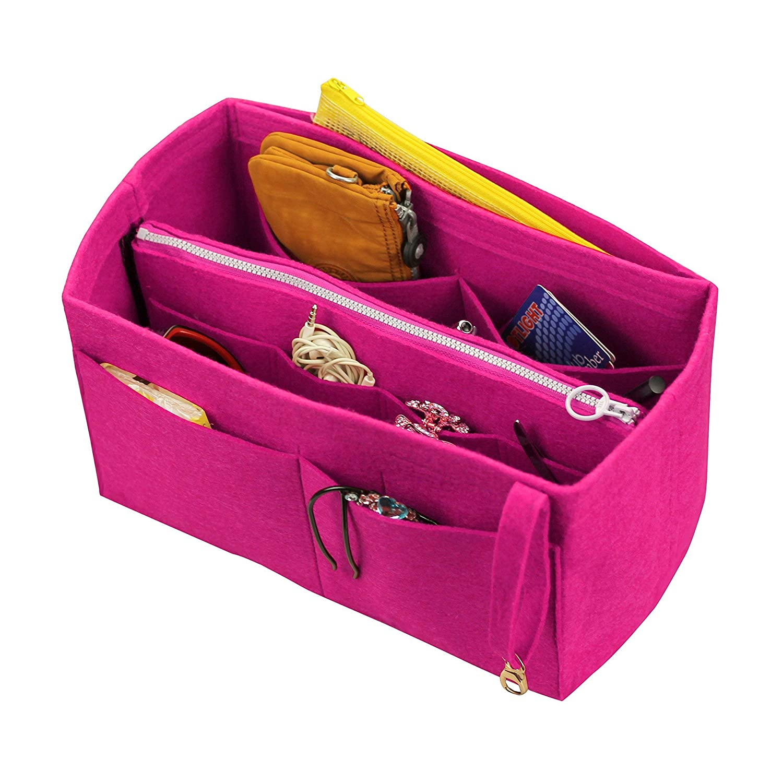 [Fits Neverfull MM/Speedy 30, Pivoine] Felt Organizer (with Detachable Middle Zipper Bag), Bag in Bag, Wool Purse Insert, Customized Tote Organize, Cosmetic Makeup Diaper Handbag
