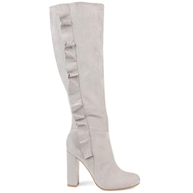 5b05546cf1c7 Image Unavailable. Image not available for. Color  Brinley Co. Womens Knee- high Ruffle Boot Grey