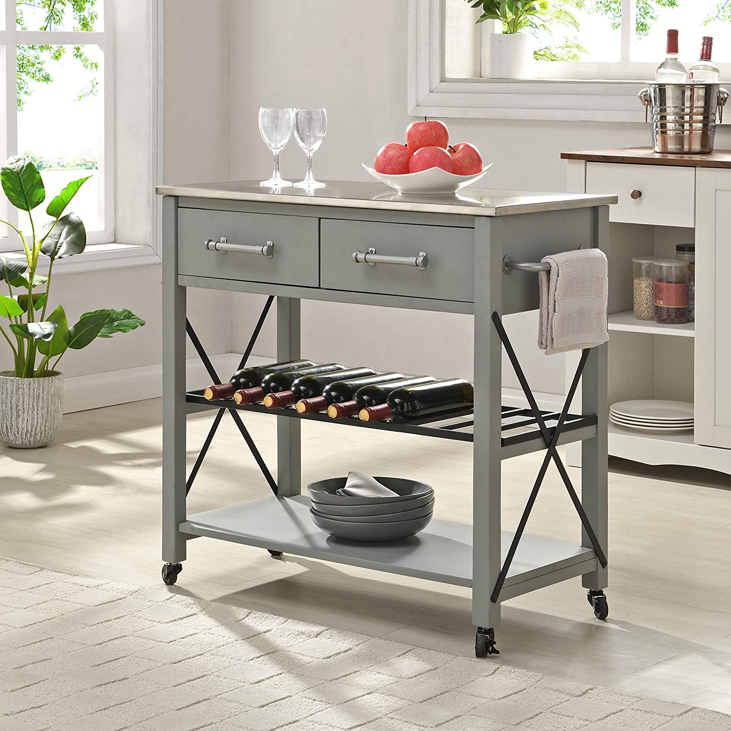 FirsTime & Co. Gray Steel Aurora Farmhouse Kitchen Cart, American Designed, Gray, 31.5 x 16 x 31.5 inches