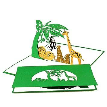 Pop Up Karte U0026quot;Tiere Im Zoou0026quot;   Geburtstagskarte, Einladungskarten  Kindergeburtstag Zoo