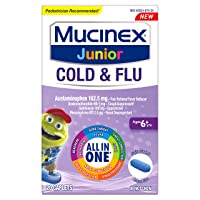 Cold and Flu, Mucinex Junior Cold and Flu Caplets, 20ct, Ages 6+ years, All-in-One...