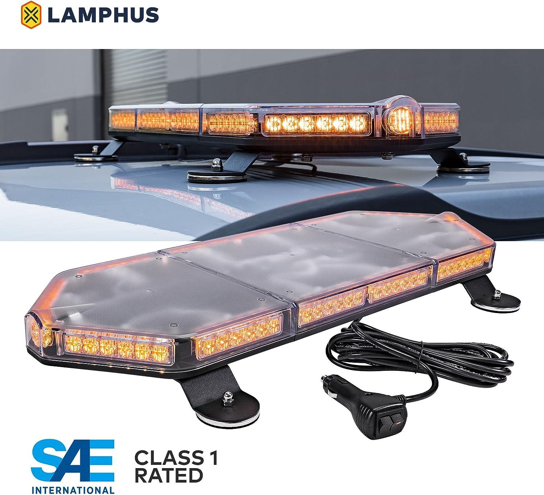 "LAMPHUS NanoFlare NFMB80 26"" 80W Amber LED Strobe Mini Light Bar [SAE Class 1] [63 Flash Modes] [12ft Cord] [Magnet or Permanent] Yellow Flashing Emergency Warning Light Bar for Truck Vehicles"