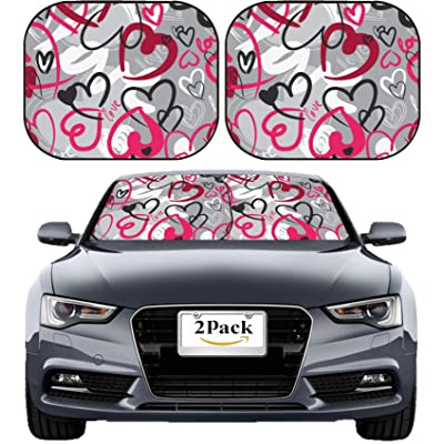 MSD Car Sun Shade Windshield Sunshade Universal Fit 2 Pack, Block Sun Glare, UV and Heat, Protect Car Interior, Image ID: 12248885 Cute Valentine s Seamless Pattern with Hearts: Automotive