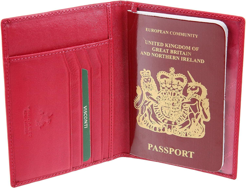 Visconti - Cartera para pasaporte fucsia: Amazon.es: Equipaje
