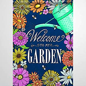 BYRON HOYLE Welcome to My Garden Garden Flag Decorative Holiday Seasonal Outdoor Weather Resistant Double Sided Print Farmhouse Flag Yard Patio Lawn Garden Decoration 12 x 18 Inch486094