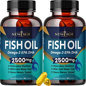 (2-Pack) Omega 3 Fish Oil 2500mg Supplement by New Age – Immune & Heart Support – Promotes Joint, Eye, Brain & Skin Health - Non GMO 180 Softgels - EPA, DHA Fatty Acids Gluten Free