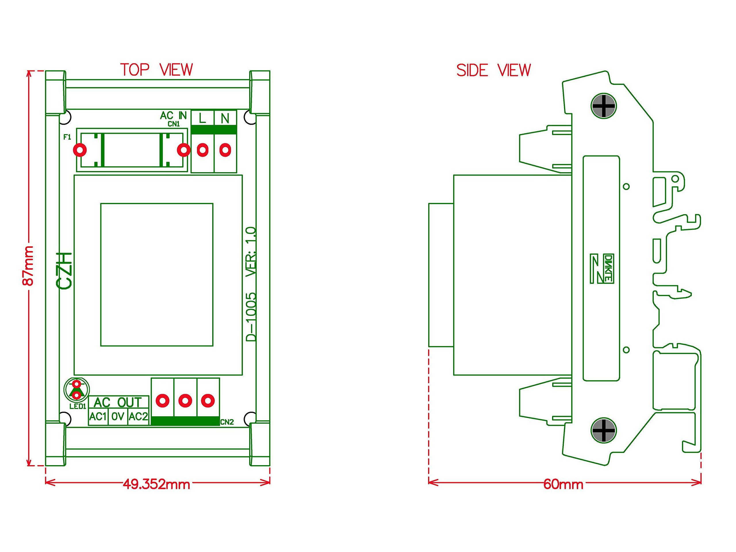 Electronics-Salon in AC115V Out AC24V 5 Watt(VA) DIN Rail Mount Power Transformer Module, 24Vac.