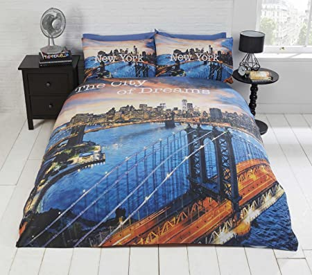 a2f30daeeb1 New York City New Photographic City of Dreams Quilt Duvet Cover and  Pillowcase Bedding Set, Polyester-Cotton, Blue, Single: Amazon.co.uk:  Kitchen & Home