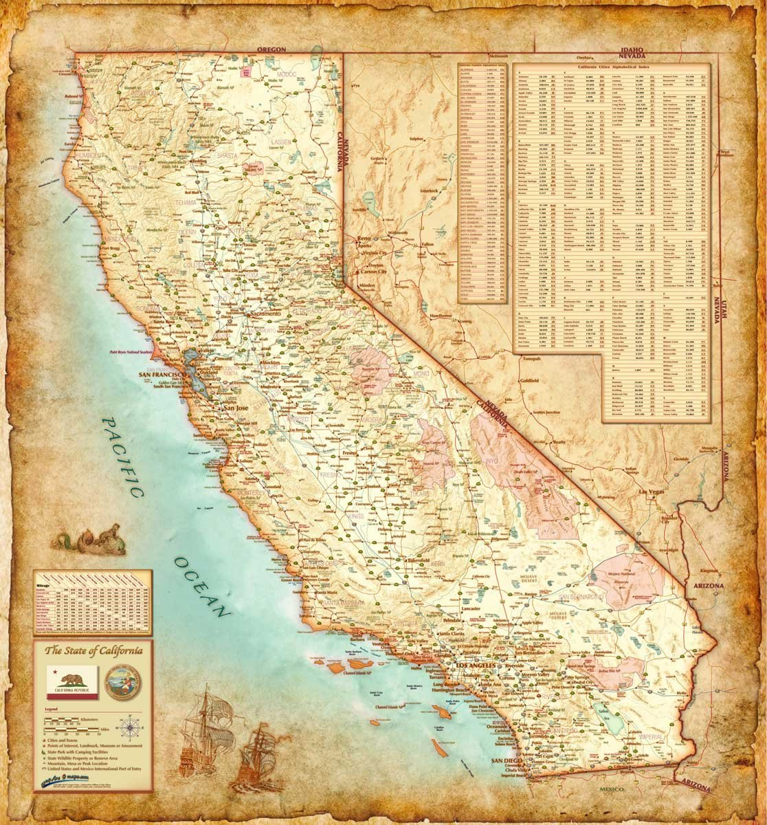 "Antique Style CALIFORNIA Wall Map *Laminated* LARGE 48""x52"" Beautiful ebook"