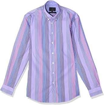 Dalydress Striped Long Sleeves Button-down Collar Cotton Shirt for Men M