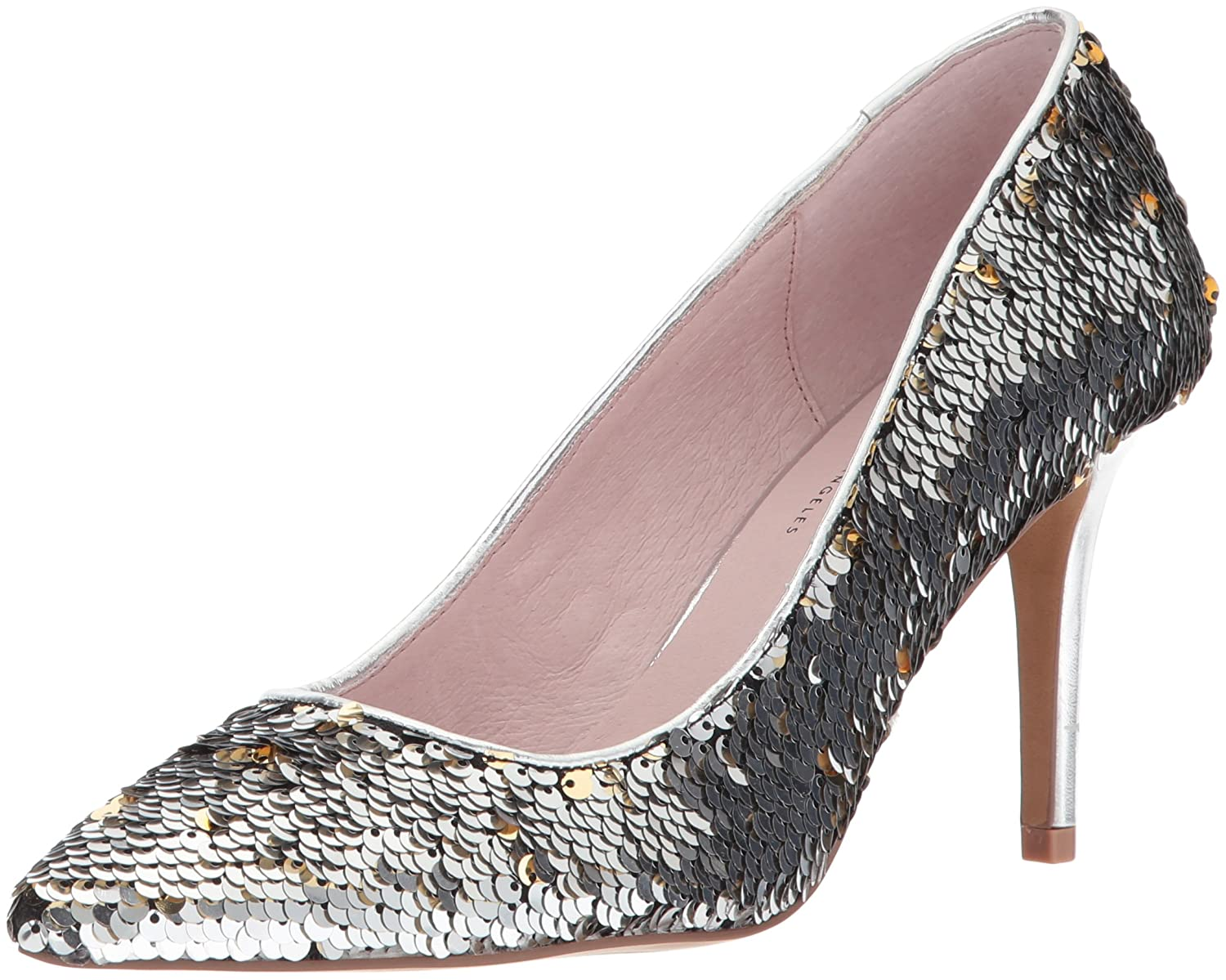 Women's Ruthy Silver Sequin High-Heel Leather Dress Pumps - DeluxeAdultCostumes.com