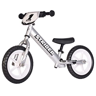 Strider - 12 Pro Balance Bike, Ages 18 Months to 5 Years, Silver: Sports & Outdoors